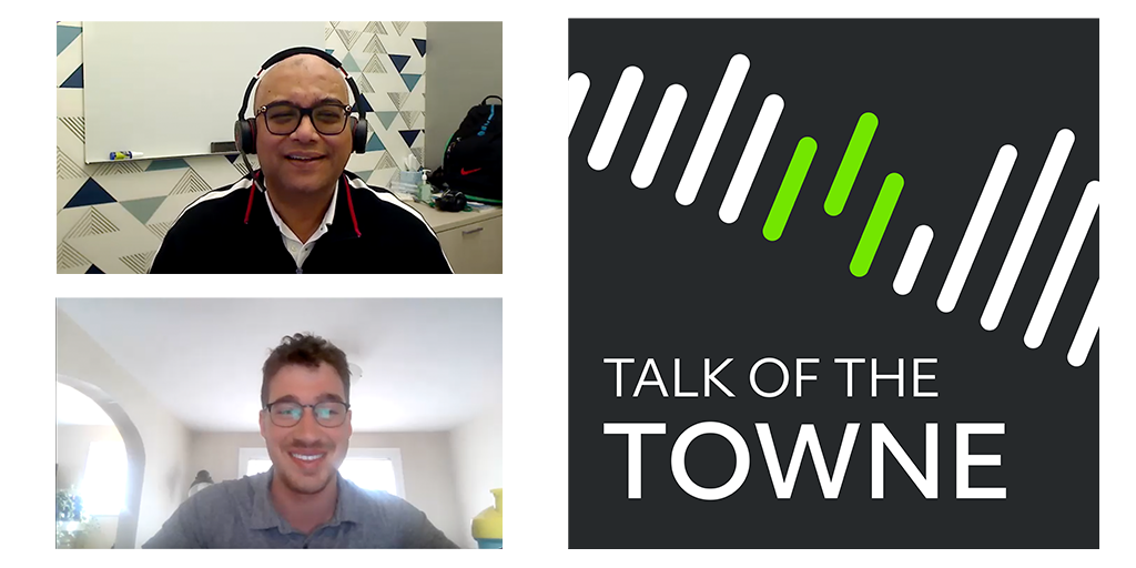 Graphic of Richard Towne and Sanjoy Dutta with the Talk of the Towne logo.
