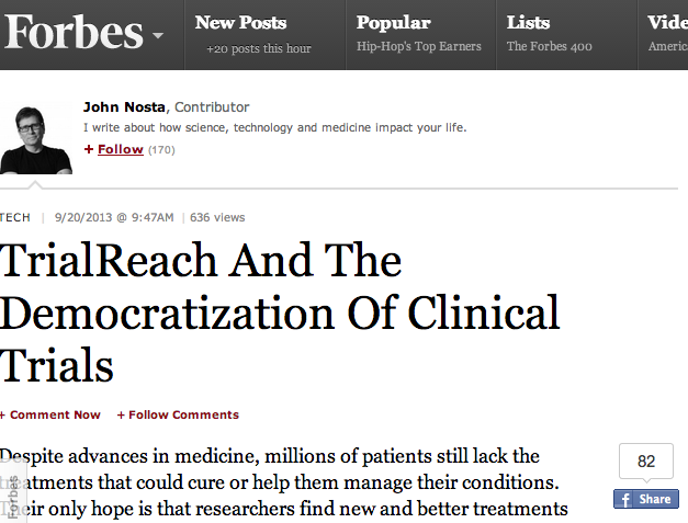 TrialReach in Forbes